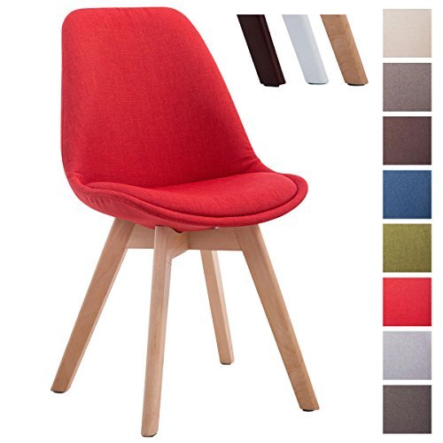 CLP Design Retro Stuhl BORNEO V2, Holz-Gestell, Stoff-Bezug rot, Gestellfarbe: natura