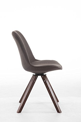 CLP Design Retro-Stuhl TROYES SQUARE, Stoff-Sitz gepolstert, drehbar dunkelgrau, Holzgestell Farbe Walnuss, Bein-Form eckig