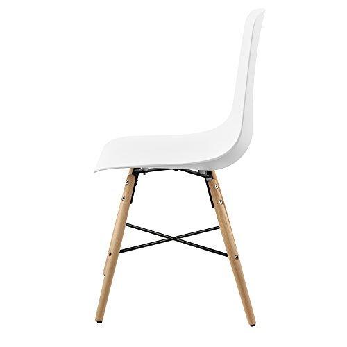 [en.casa] Designstuhl im 6er-Set - 85,5 x 46cm - weiß - Esszimmerstuhl Kunststoff Retro