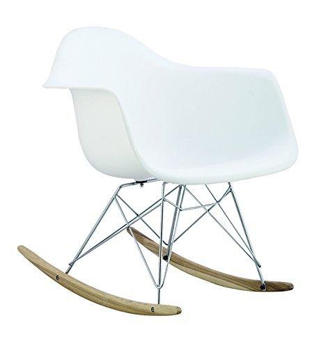 Promo 1Schaukelstuhl Stuhl Design Inspiration Schaukelstuhl RAR Füße aus hellem Holz Sitzfläche weiß mobistyl® mc-rarlwh-1p