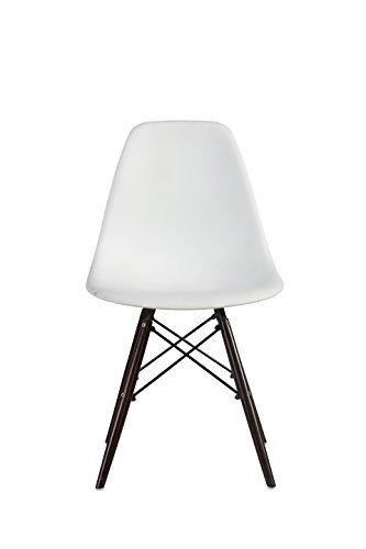 Promo 1x Stuhl Design Inspiration Eiffel Füße lackiertem Holz Walnuss Sitzfläche mobistyl® dswd-m-1 weiß