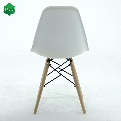 P & N Homewares® Romano DS Moda Stuhl Kunststoff Holz Retro Esszimmer Stühle Weiß Schwarz Grau Rot Gelb Rosa Grün Blau (Weiß)