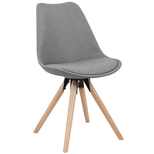 MCTECH® 2x Stuhl Esszimmerstühle Esszimmerstuhl Stuhlgruppe Konferenzstuhl Küchenstuhl Armlehne Büro mit Massivholz Eiche Bein (Type C, Grau)