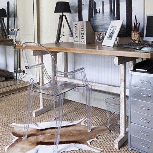Damiware Spirit 4er set Design Stuhl mit Armlehnen transparent - wohnzimmerstuhl esszimmerstuhl hochwertige Verarbeitung, komfortables Sitzen, Für Außen und Innen geeignet. (Transparent)