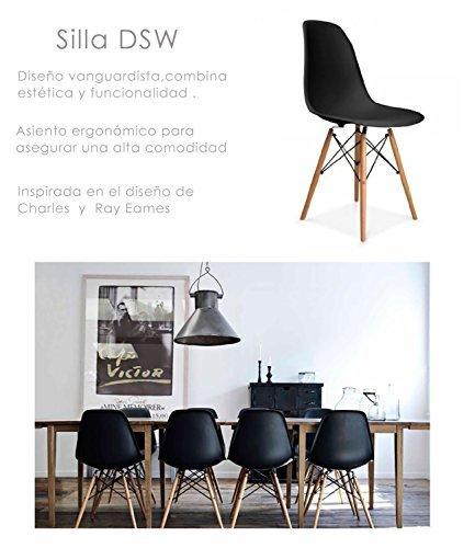 Due-home (Nordik)–4Stühle Tower schwarz, Stuhl aus Buchenholz, Nachbildung des Eames-Tower-Stuhls, Maße 47cm breit x 56cm tief x 81cm hoch
