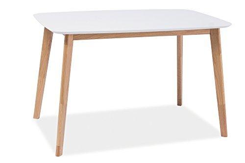 Esstisch Esszimmertisch Holztisch Echtholztisch MILO I in Weiß Eiche Natur 120 x 75 cm Skandinavisches Design