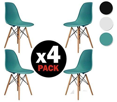 due-home (Nordik)–Pack 4Stühle Stuhl Tower türkis, Replica Eames Türkis und aus Buchenholz, Maße 47cm breit x 56cm tief x 81cm hoch