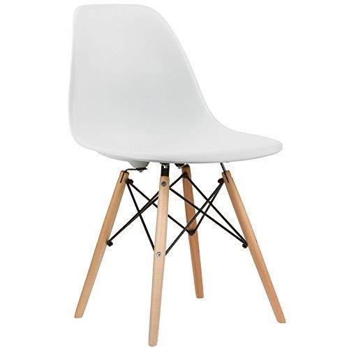 Charles & Ray inspiriert Eiffelturm Retro Design Wood Style Stuhl für Büro Lounge Küche–weiß (4)