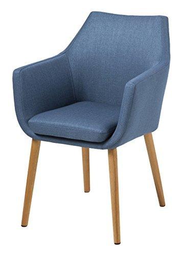 AC Design Furniture 59329 Armstuhl Trine, 58 x 58 x 84 cm, Sitz/Rücken Stoff Corsica dunkel blau