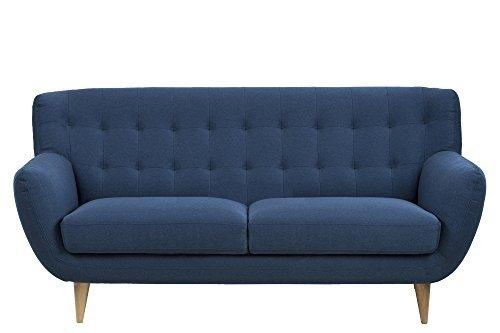 AC Design Furniture 60912 Sofa Jimmy 3-Sitzer, circa 185 x 87 x 84 cm, Stoff dunkelblau