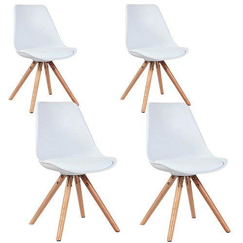 ALPHA 4er Set Stühle Designstuhl Esszimmerstuhl Wohnzimmerstuhl Beine Eiche massiv (Weiß)