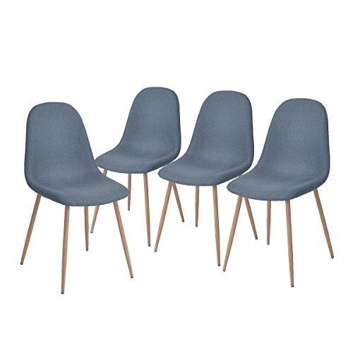 Aingoo 4x Blau Küchenstuhl Metallbeinstuhl DAW Bistrostuhl Eiffel Stuhl Sitzgruppe Esszimmer Stuhl Stuhlgruppe