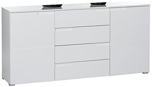 BEGA 45-958-13 Spice Sideboard 2 türig, 4 Schubkästen, Ausführung, 2 Einlegeböden, Grifffräsung, circa 165 x 80 x 40 cm, weiß