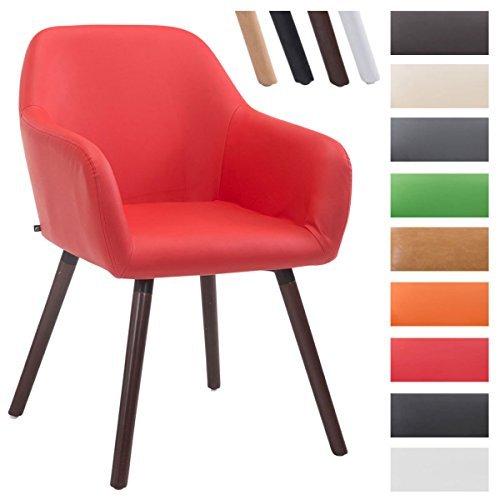 CLP Besucher-Stuhl ACHAT V2 mit Armlehne, max. Belastbarkeit 150 kg, Holz-Gestell, Kunstleder-Bezug, Sitzfläche gepolstert, mit Bodenschonern Rot, Gestellfarbe: Walnuss