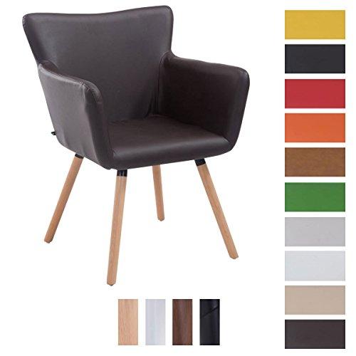 CLP Besucher-Stuhl ANTWERPEN, max. Belastbarkeit 160 kg, Kunstleder-Bezug, Holz-Gestell aus Buche, Sitzfläche gepolstert, mit Armlehne, mit Bodenschonern