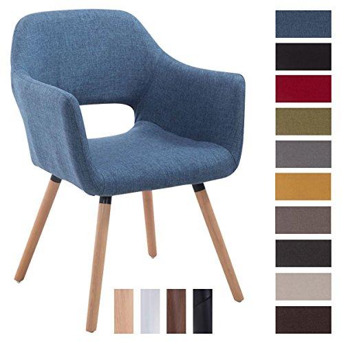 CLP Besucher-Stuhl AUCKLAND mit Armlehne, max. Belastbarkeit 160 kg, Holz-Gestell, Stoff-Bezug, Sitzfläche gepolstert, mit Bodenschonern