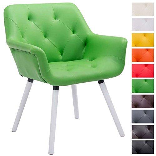 CLP Besucher-Stuhl CASSIDY, Kunstleder-Bezug, belastbar bis 150 kg, Retro-Stuhl mit Armlehne, sesselförmiger Sitz, gepolstert, Sitzhöhe 45 cm grün, Holzgestell Farbe weiß