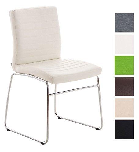 CLP Besucher-Stuhl / Küchenstuhl LEA, Sitzfläche gut gepolstert, Bezug pflegeleicht, schöne Optik weiß