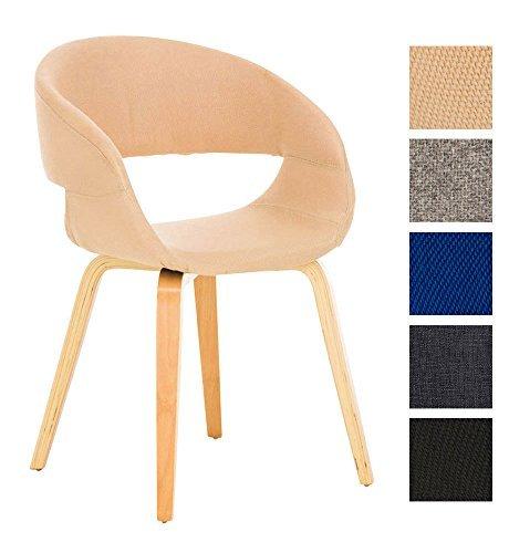 CLP Besucher-Stuhl PANO mit Armlehne, gepolstert, Holzgestell, modern creme