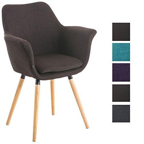 CLP Besucher-Stuhl VANCE, Holzgestell, Stoff-Bezug, Polsterstuhl mit Armlehne braun