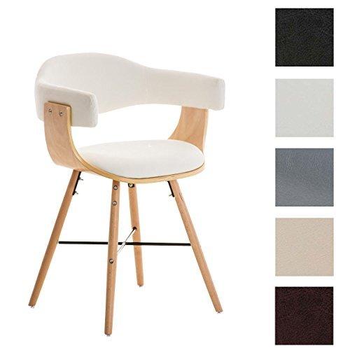 CLP Besucherstuhl BARRIE V2, natura, mit Armlehne, Sitzfläche gut gepolstert, Holzgestell, modern weiß
