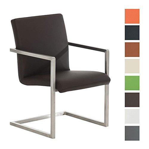CLP Design Edelstahl Freischwinger-Stuhl JAVA, Besucher-Stuhl mit Armlehne, gepolstert braun