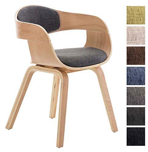 CLP Design Holz-Stuhl mit Armlehne KINGSTON Besucher-Stuhl gepolstert, Stoffbezug Stoff: hellgrau / Gestell: natura