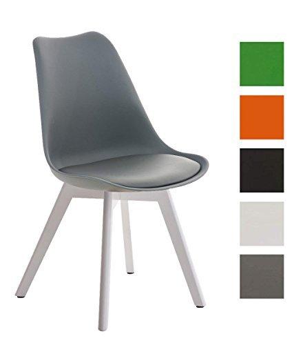 CLP Design Retro Stuhl BORNEO, Holzgestell, Sitz Kunststoff / Kunstleder, gepolstert grau, Holzgestell Farbe weiß