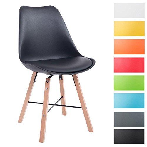 CLP Design Retro Stuhl LAFFONT, Sitz Kunststoff / Kunstleder schwarz, Holzgestell Farbe natura