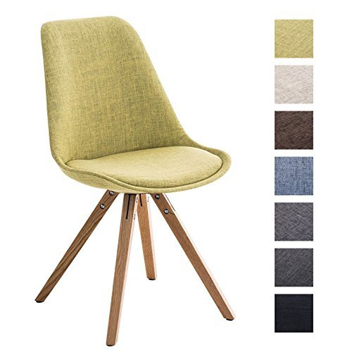 CLP Design Retro Stuhl PEGLEG SQUARE, Holzgestell natura, Stoffsitz, Schalenstuhl grün