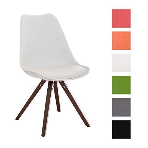 CLP Design Retro Stuhl PEGLEG SQUARE mit Holzgestell walnuss, Materialmix Kunststoff Kunstleder Holz