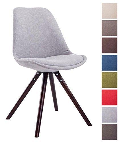 CLP Design Retro-Stuhl TOULOUSE Holzgestell Cappuccino Rund, Stoffbezug, gepolstert grau