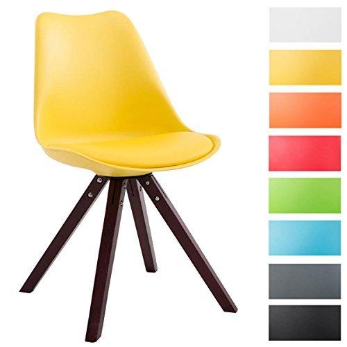 CLP Design Retro-Stuhl TOULOUSE Holzgestell Cappuccino Square, Kunststoff-Lehne, Kunstleder-Sitz gepolstert gelb