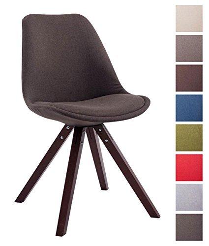CLP Design Retro-Stuhl TOULOUSE Holzgestell Cappuccino Square, Stoffbezug, gepolstert dunkelgrau