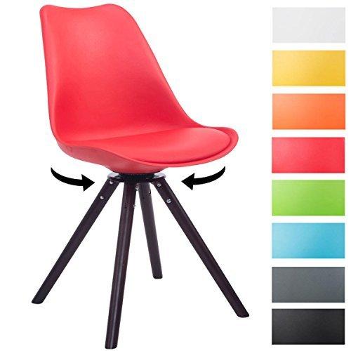 CLP Design Retro-Stuhl TROYES RUND, Kunststoff-Lehne, Kunstleder-Sitz, drehbar, gepolstert rot, Holzgestell Farbe Walnuss, Form rund