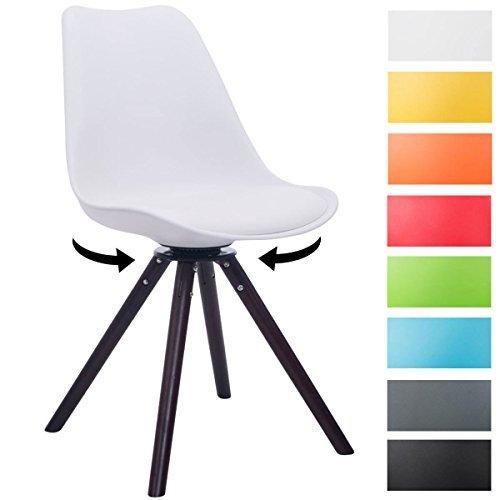 CLP Design Retro-Stuhl TROYES RUND, Kunststoff-Lehne, Kunstleder-Sitz, drehbar, gepolstert weiß, Holzgestell Farbe Walnuss, Form rund