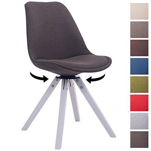 CLP Design Retro-Stuhl TROYES SQUARE, Stoff-Sitz gepolstert, drehbar dunkelgrau, Holzgestell Farbe weiß, Bein-Form eckig