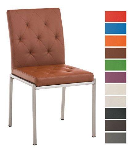 CLP Edelstahl Esszimmer-Stuhl CHARLY, Kunstleder-Bezug, modern, Sitzhöhe 48 cm hellbraun