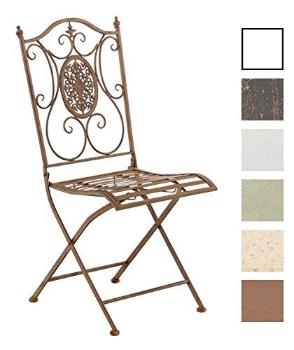 CLP Eisen Garten-Stuhl SIBELL, Metall-Stuhl klappbar, Dehsign nostalgisch antik
