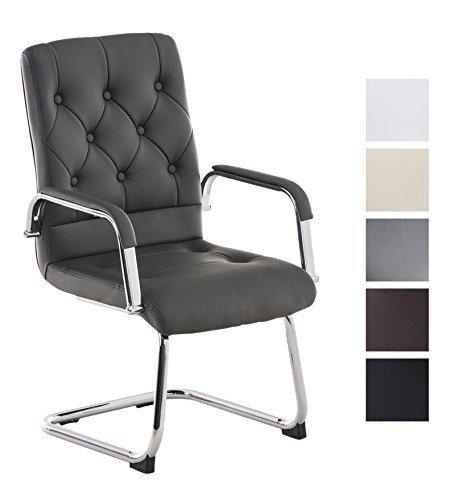 CLP Freischwinger-Stuhl mit Armlehne CLAIRE, Besucherstuhl / Konferenzstuhl mit gepolsterter Sitzfläche, FARBWAHL grau