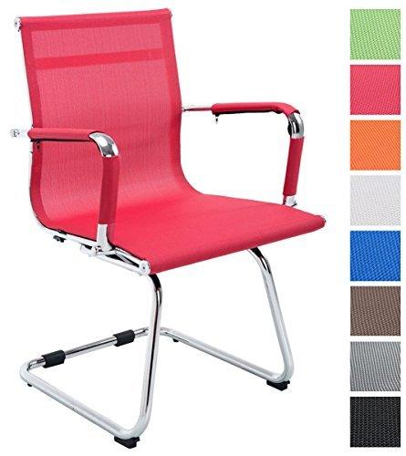 CLP Freischwinger Stuhl mit Armlehne FERDINAND, Besucherstuhl, Metallgestell, Netzbezug rot