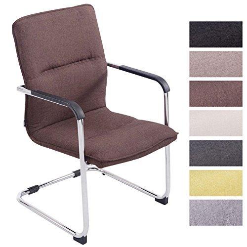CLP Freischwinger-Stuhl mit Armlehne SEATTLE Stoff, Besucherstuhl, Konferenzstuhl gepolstert, Metall braun