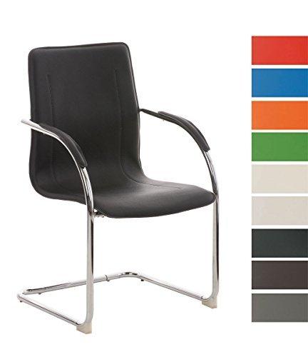 CLP Konferenzstuhl / Besucherstuhl MELINA, Freischwinger mit Armlehne, Kunstlederbezug und gepolsterter Sitzfläche schwarz