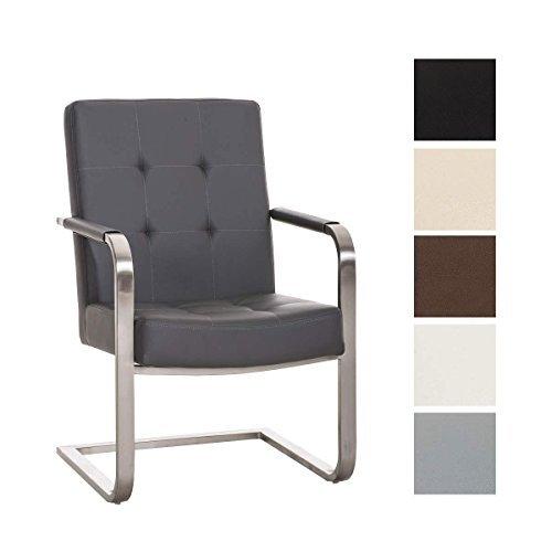 CLP Konferenzstuhl, Freischwinger Stuhl QUENTIN mit Armlehne, Edelstahl Gestell, Sitzfläche gepolstert, 11 cm Sitzpolster grau