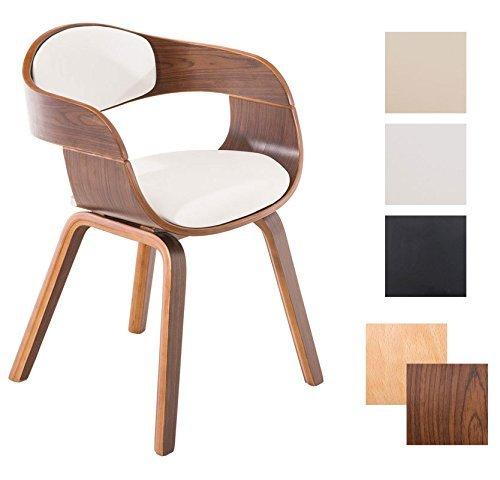 CLP Retro Besucher-Stuhl KINGSTON mit Armlehne, gepolstert, Holzgestell, modern Holz Farbe walnuss, Bezug Farbe weiß
