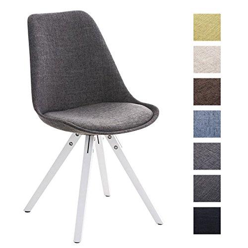 CLP Retro Design Stuhl PEGLEG SQUARE mit Holzgestell weiß, Stoffsitz, Besucherstuhl im stilvollen Design