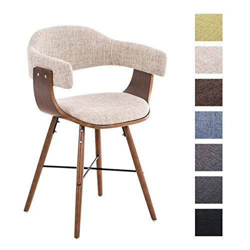 CLP Retro Esszimmer-Stuhl BARRIE V2 Stoff, Holzgestell walnuss, Gastro-Stuhl mit Armlehne, gepolstert, modern creme