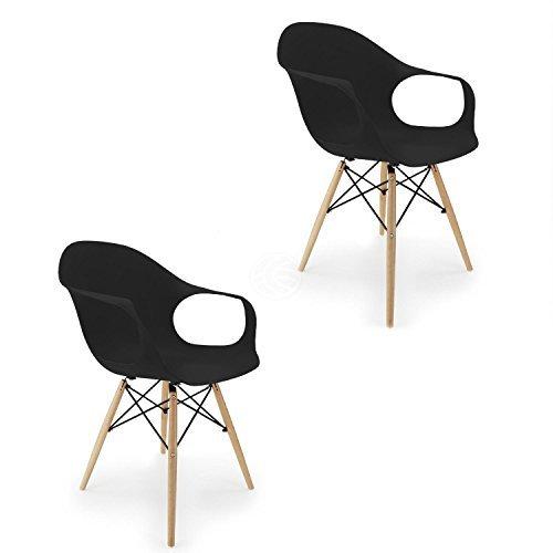 Cablematic - Stuhl Eiffelturm inspiriert Sessel in schwarz 2 Stück
