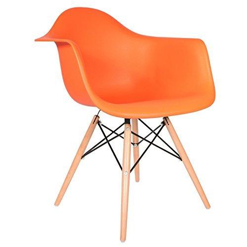 Chaise Privée Stuhl DAW–leuchtendes Orange, naturfarben