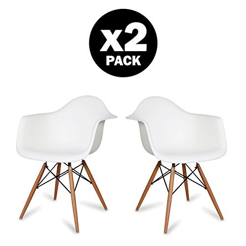 Comfortableplus 2er DAW Retro Esszimmerstuhl mit Buche Holzbeine, Sessel Büromöbel, Weiß